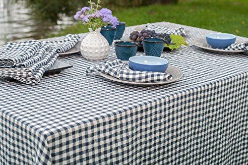 Lin Mode : Lin Lavé Nappe en bleu foncé et blanc Vérifie, 100 % lin, bleu/blanc, ± 140cm x 250cm (55\