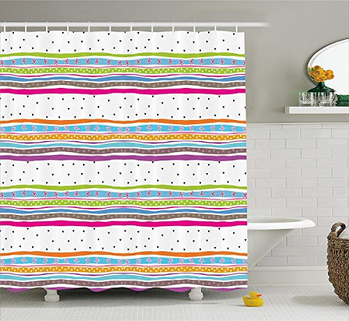 BUZRL Striped Shower Curtain, Abstract Wavy Stripes Polkadots Ribbons Bows and Hearts Girly Patterned Artwork, Fabric Bathroom Decor Set with Hooks, 66x72 inches, Multicolor (Halloween Cake Walk)
