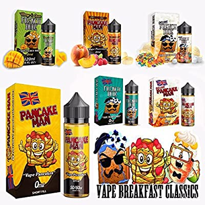 Vape Breakfast Classics E-Liquid - Pancake Man, Unicorn Cakes, French Dude - 60ml/120ml Shortfill - 0MG - 100% Genuine from Premier Vaping by Vape Breakfast Classics