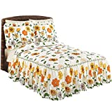 Best Collections Etc Bed Skirts - Sunny Garden Quilted Bedspread With Ruffled Skirt, Queen Review