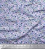 Soimoi Lila Samt Stoff Blume Aquarell gedruckt Craft Fabric