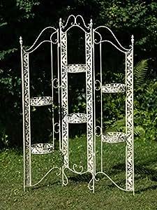 Paravent/séparateur jardin pergola fer style antique 16kg blanc