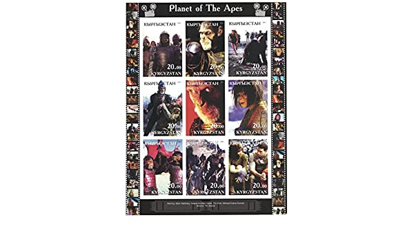 PLANET OF THE APES TIM BURTON MARK WAHLBERG TIM ROTH MINT MNH STAMP SHEETLET