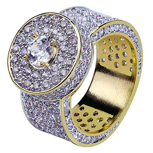 18k Gold Hip Hop Iced Out Lab Simulated Diamond Micro Pave CZ Ring for Men,8# (Pave Diamond Wedding Ring)