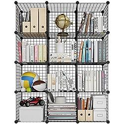 LANGRIA Étagère à Livres en GrillesMétalliquesavec 12 Cubes DIY, Multiusage et Modulaire, Cabinet Organisateur Ouvert, pour Livres, Jouets, Vêtements, Outils, Capacité Maximale 20 kg par Cube, Noir