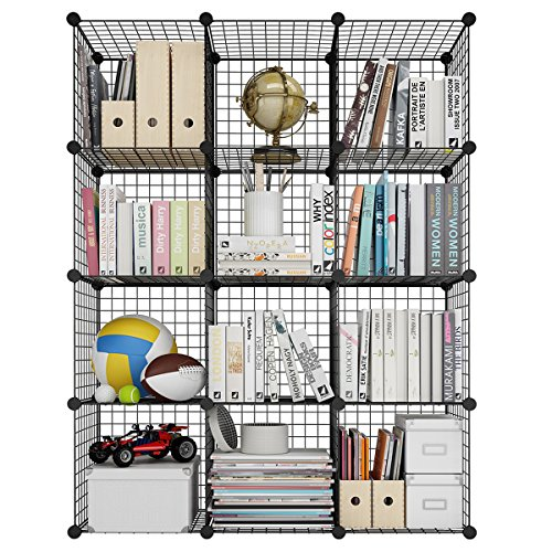 LANGRIA Bücherregal 12 Kubus Offen Draht Stufenregal Regalsystem Schuhregal Wohnzimmer Schrank für...