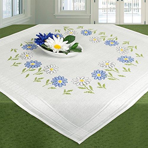 Stickpackung MARGERITEN / Komplettes Vorgezeichnetes Tischdecken Set zum Sticken / Blumen Stickset mit Stickvorlage für Erwachsene / Sticken im Kreuzstich