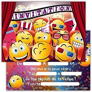 12 Cartes D Invitation Anniversaire Enfant Smiley