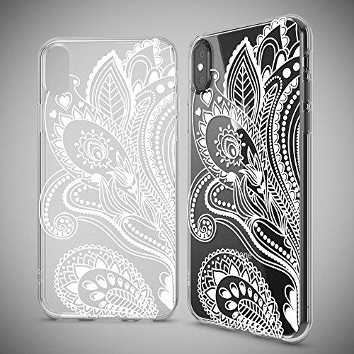 iPhone X Hülle Handyhülle von NICA, Slim Silikon Motiv Case Cover Crystal Schutzhülle Dünn Durchsichtig, Etui Handy-Tasche Backcover Transparent Bumper für Apple iPhone-X - Transparent Artificial Flowers
