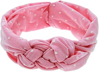 Ziory Fabric Pink Printing Knot Elastic Cotton Hair Band For Girls