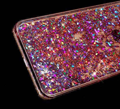 Cover iPhone 5C,Custodia iPhone 5C, Custodia Cover Case per iPhone 5C,ikasus® Di lusso Bling Bling scintilla scintillio iPhone 5C Case Custodia Cover [Cristallo Trasparente] Protettiva Trasparente con Diamante:Rosso
