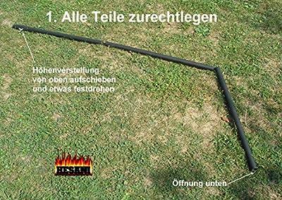Dreibein 0080 + 60 cm Grillrost Edelstahl o.FS Schwenkgrill Holzkohle BBQ Grill Hammergrill TOP Gartengrill