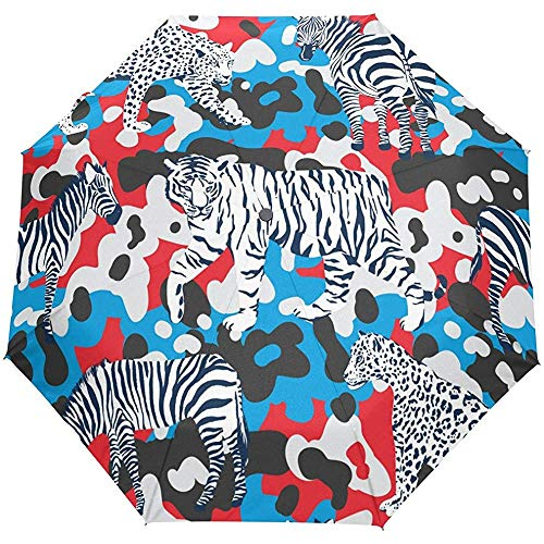Bunter gestreifter Wilder Tiger Zebra Tropical Flowers-Blumenwaldauto-geöffneter naher Sonnen-Regen-Regenschirm