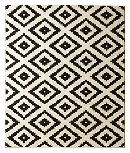 Hanse Home 102332_80x300 Teppich Läufer Bettumrandung Brücke, Polypropylen, schwarz creme, 80 x 300 x 0.9 cm