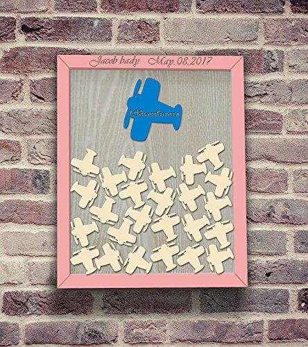 Monsety Rustikal Adresse Gästebuch für Baby Mädchen Dusche Geschenk Holz Drop Top Frame Gästebuch Alternative Geburtstag Party Ideen Schild 30x 35cm mit 120Herzen