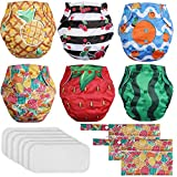 Lictin Reusable Cloth Nappies - Set of 6 Adjustable Pocket Nappy Diaper Leak Protection, 6PCS Bamboo Nappy Inserts with 2 Storage Bags, Suitable for Most Babies and Toddlers 3.6kg-16.3kg (8-36pounds)