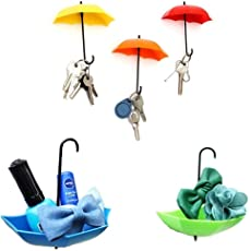 Inditradition Plastic Umbrella Shaped Wall Hook, Multicolor (Pack of 3)