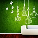 DECOR Kafe Home Decor Birds And Lantern Wall Sticker, Wall Sticker For Bedroom, Wall Art, Wall Poster (PVC Vinyl, 101 X 78 CM)