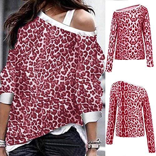 Fghyh Damen Sweatshirt Langarm ShirtDamen Leopard Langarm Pullover Sweatshirts Loose Fit Oberteile Blusen(S, rot) Leopard-print-poncho