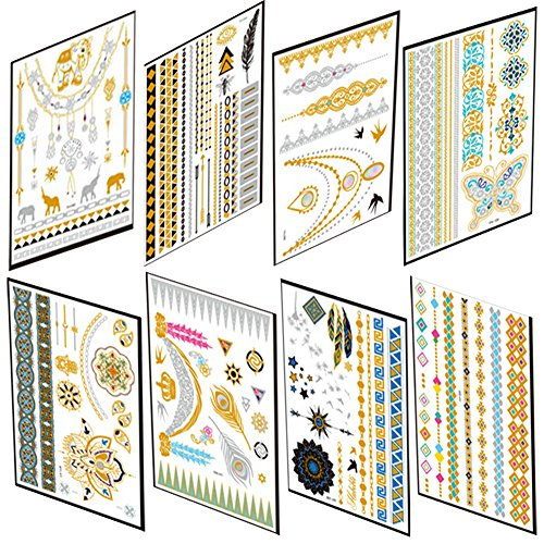 oos in Gold, 8 Blätter Goldfolie Wasserdicht Heiße Silberne Tätowierung Aufkleber Tattoo Flash Goldener Temporäre Tattoos DIY Sticker ()