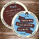 Echte Bierdeckel als Einladung zum Geburtstag (100 Stück) Retro blau, braun Einladungskarte als Biermarke