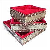 #4: line n curves Red Satin Fabric Royal Basket Potli For Fruit Gifting,Sweet Gifting,Chocolate Gifting,Baby Shower Gifting,Wedding Gifting(Size :- Inches 8*8*3,10*10*3,12*12*3)
