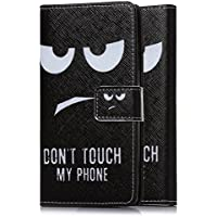 tinxi® Kunstleder Tasche für Sony Xperia E5 Tasche Schutz Hülle Schale Etui Case Cover Standfunktion mit Karten Don't Touch My Phone in Schwarz