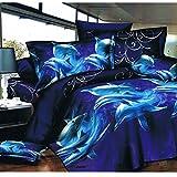 Bettwäsche-Set 205 mit 3D-Motiv Delfine, 1Bettbezug, 1Spannbettlaken, 2Kissenbezüge, Polyester, fühlt sich wie Baumwolle an, für Einzel-, Doppel-, King- und Super-King-Betten nach britischem Standard, 4-teiliges Set, 100 % Polyester, 205, Einzelbett