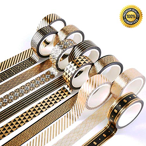 Little Roger 10 Rollen Gold Folie Tape Set mit,Masking Tape schwarz-goldene Foliendruck,Masking Klebeband für DIY Handwerk Washi Tape Dekoband (Niello) [EINWEG] - Deko-tape