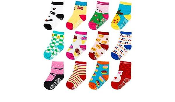 Ateid B/éb/é Tout-petits Chaussettes Antid/érapantes Chevilles Socquettes Coton 1-3 Ans Paquet de 12