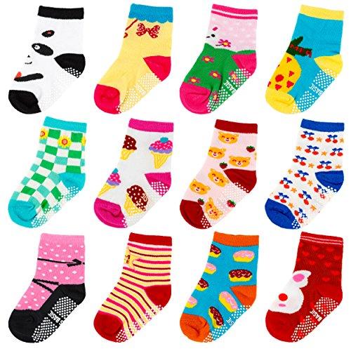 Ateid 12 Paar Baby Mädchen Socken Stoppersocken mit Antirutsch-Noppen