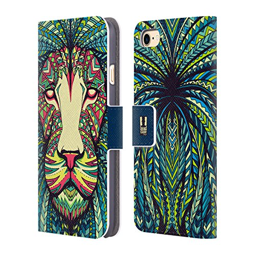 Head Case Designs Pferd Aztekische Tiergesichter Brieftasche Handyhülle aus Leder für Apple iPhone 4 / 4S Löwe