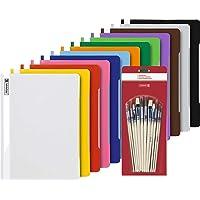 14 Brunnen Schnellhefter A4 farbig sortiert PP-Folie glasklares Deckblatt (14 Farben) + Pinsel