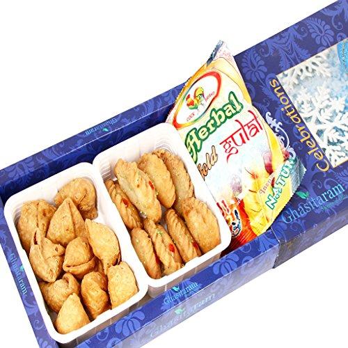 Holi Gifts – Gujiya and Farsaan Samosa Hamper with two Packs of Gulal