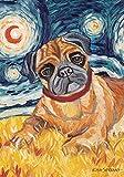 DIYCCY Van Brummen Fawn Mops 31,8x 45,7cm Dekorative Puppy Dog Portrait Starry Night Garden Flagge