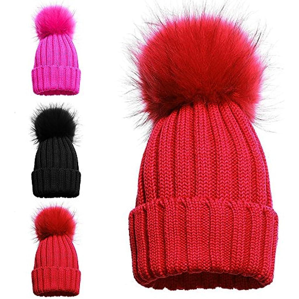 Gorro tejido de invierno para niña con pompón individual y doble 1 POM POM  HAT RED d861767f85f2