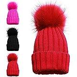 Girls singolo e doppio cappello invernale cappellini bambini singolo pon pon double pom Cosy Knitted cappellini 1 POM POM HAT RED