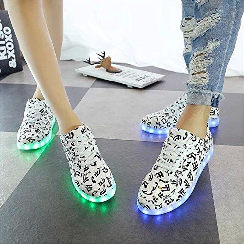 DoGeek Scarpe Led Luminosi Sneakers Scarpe uomo Con Le Luci Accendono Scarpe Sportive White