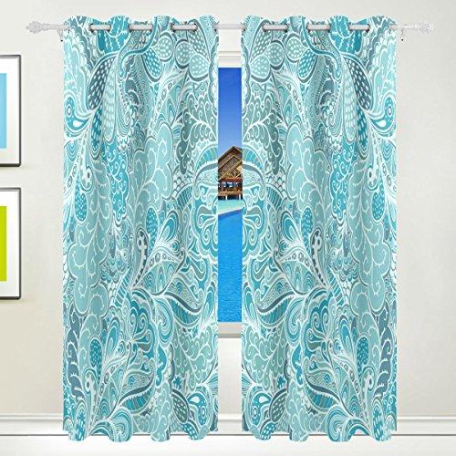 Okone pannelli tende oscuranti blackout grommet divisorio per patio finestra pannelli porta scorrevole in vetro con motivo etnico blu seamless texture (139,7x 213,4cm,2)