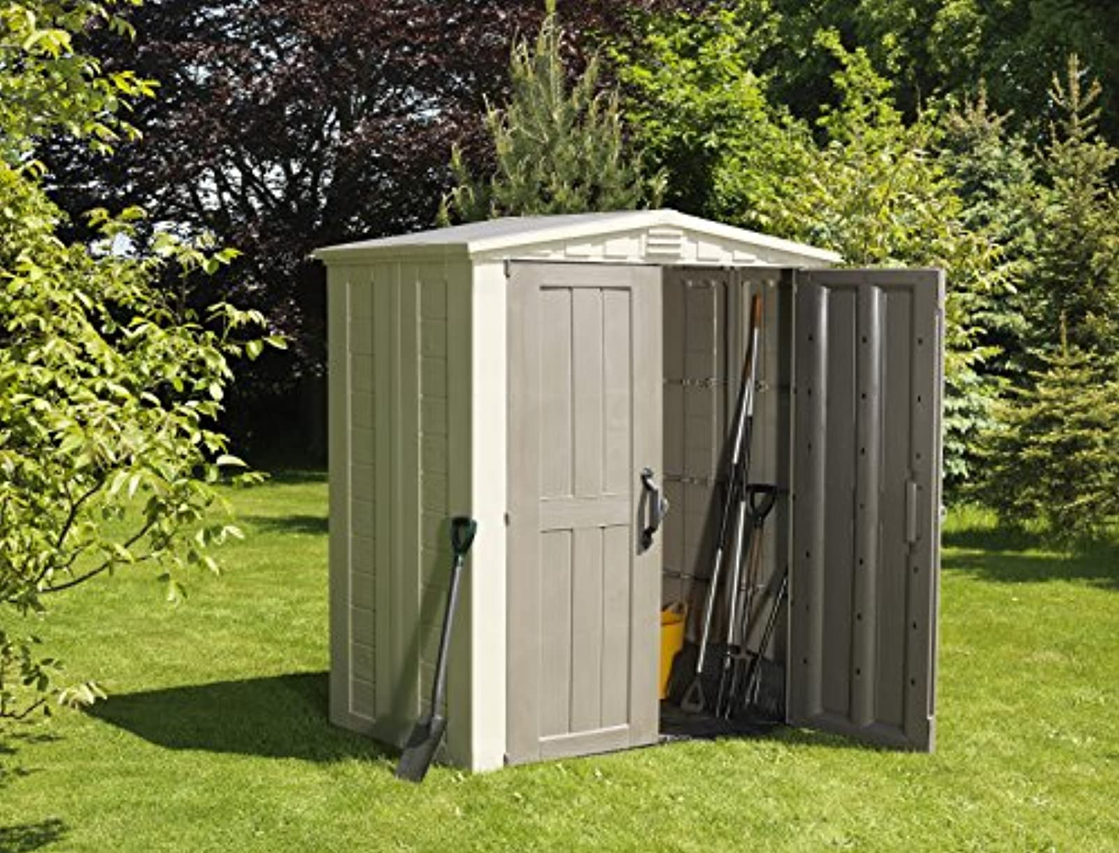 Keter factor plastic outdoor garden storage shed fade for Garden shed tab
