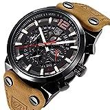 benyar Coole Männer Chronograph Quarz Wasserdicht Uhren Sport Military Braun Lederband Armbanduhr