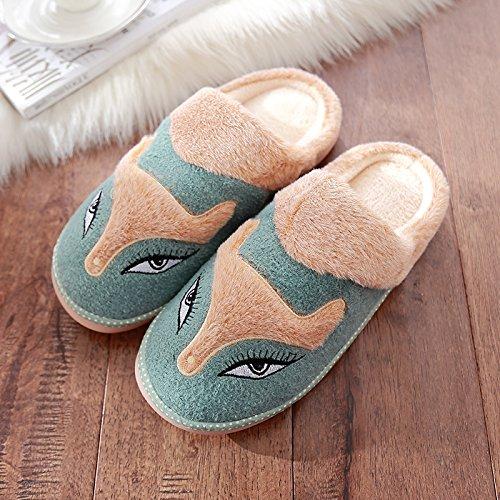 DogHaccd pantofole,Inverno di cotone femmina pantofole Cartoon carino maschio spessa coperta calda morbida antiscivolo pantofole Il verde4