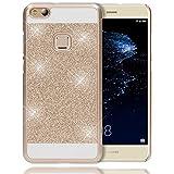 NALIA Handyhülle für Huawei P10 Lite, Glitzer Hard-Case Back-Cover Schutz-Hülle, Handy-Tasche im Glitter Sparkle Design, Dünnes Bling Strass Etui Skin für P10-Lite Smart-Phone, Farbe:Gold