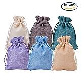 BENECREAT 30 Pack 6 bolsas de arpillera de color con bolsas de regalo con cordon Bolsa de joyas para fiesta de bodas y artesania de bricolaje, 4.5 x 3.7 pulgadas