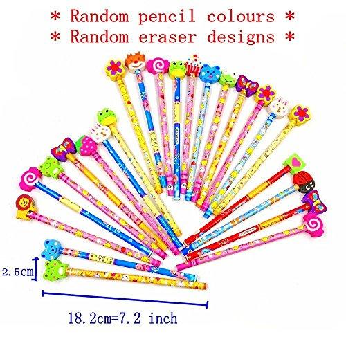 comprare on line JZK® Set 24 matita in legno con gomma matite grafite colorate con gomme bomboniera regalino per festa bambini compleanno battesimo comunione regalo compleanno regalo Natale per bambina bambino prezzo
