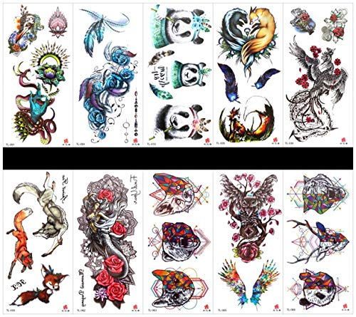 PAMO 10pcs Tattoo Horse Tattoo-Sticker in Paketen, einschließlich Vögel, Frau, Lady, Rose, Hirsch, Blumen, Papagei, Pferd mit Blumen, Lady, Hirsch, etc.