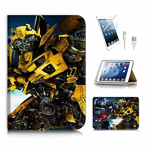 (für iPad Mini 123, Generation 1/2/3) Flip Wallet Schutzhülle & Displayschutzfolie & Ladekabel Bundle. a4284Transformer Bumblebee