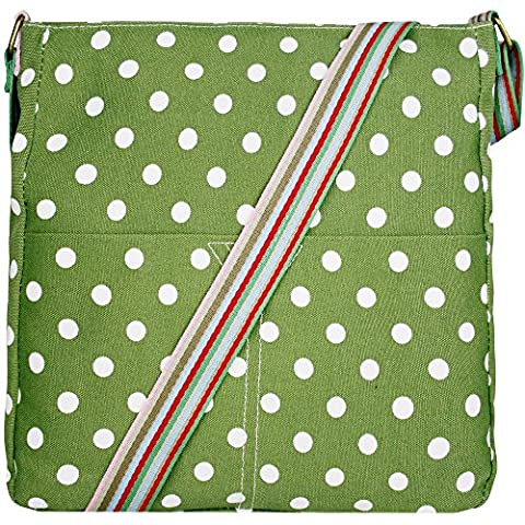 Miss Lulu Canvas Messenger Bag Polka Dots Green L1104D2 GN