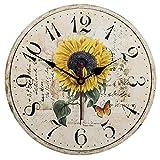 VieVogue Wanduhr, Holz Küchenuhr mit großem Ziffernblatt aus MDF, Retro Uhr im angesagtem Shabby Chic Design mit leisem Quarz-Uhrwerk (Sonnenblume, 30cm)