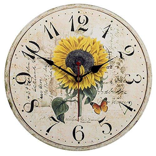 Vievogue orologio da parete, vintage colorful francia parigi stile francese del paese toscano di numeri arabi design silenzioso orologio da parete in legno home decor (girasole, 30cm)